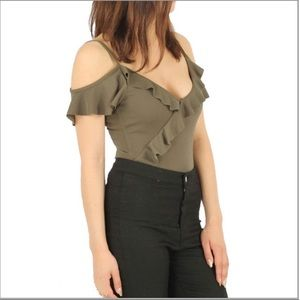 Other - SALE!! Crepe Frill Bodysuit